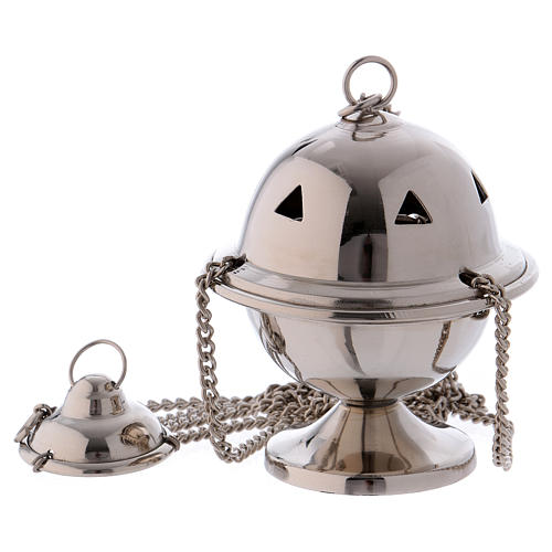 Censer in glossy silver-plated brass 10 cm 1