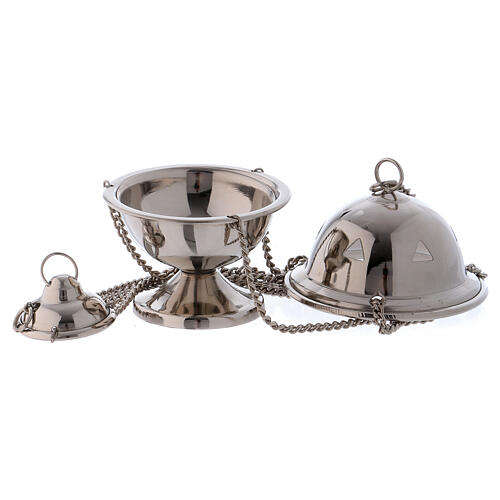 Polished silver-plated brass thurible h 4 in 2