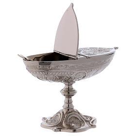 Łódka liturgiczna styl klasyczny z mosiądzu posrebrzanego s2