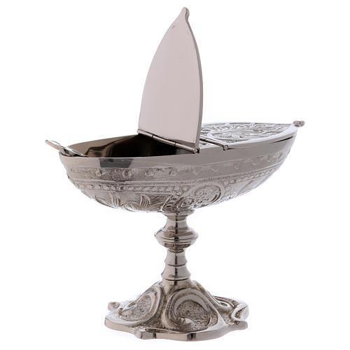 Łódka liturgiczna styl klasyczny z mosiądzu posrebrzanego 2