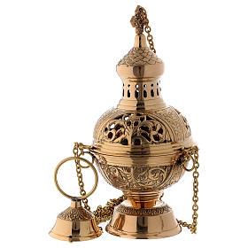 Censer in golden brass h 28 cm s1
