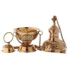 Censer in golden brass h 28 cm s3