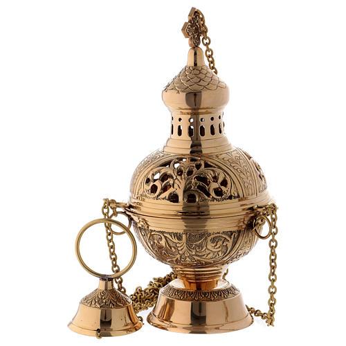 Censer in golden brass h 28 cm 1
