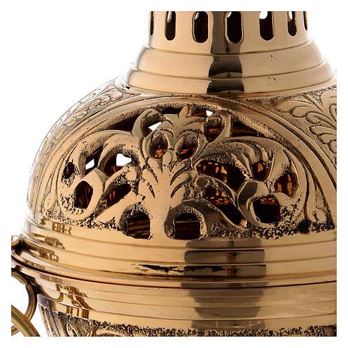 Censer in golden brass h 28 cm 2