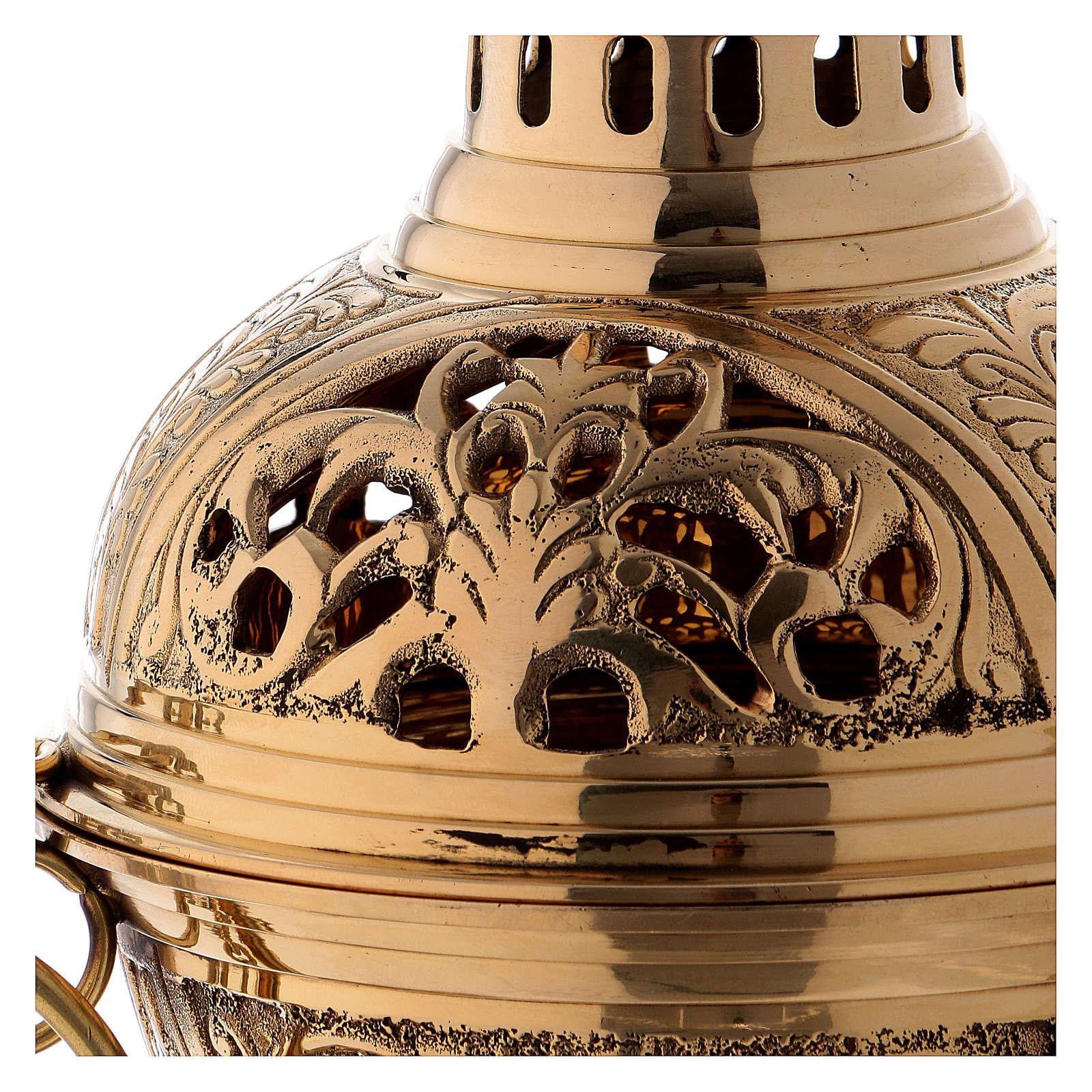 Turibolo ottone dorato h 28 cm 3
