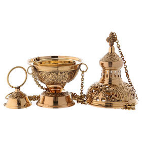 Gold plated brass thurible h 11 in s3