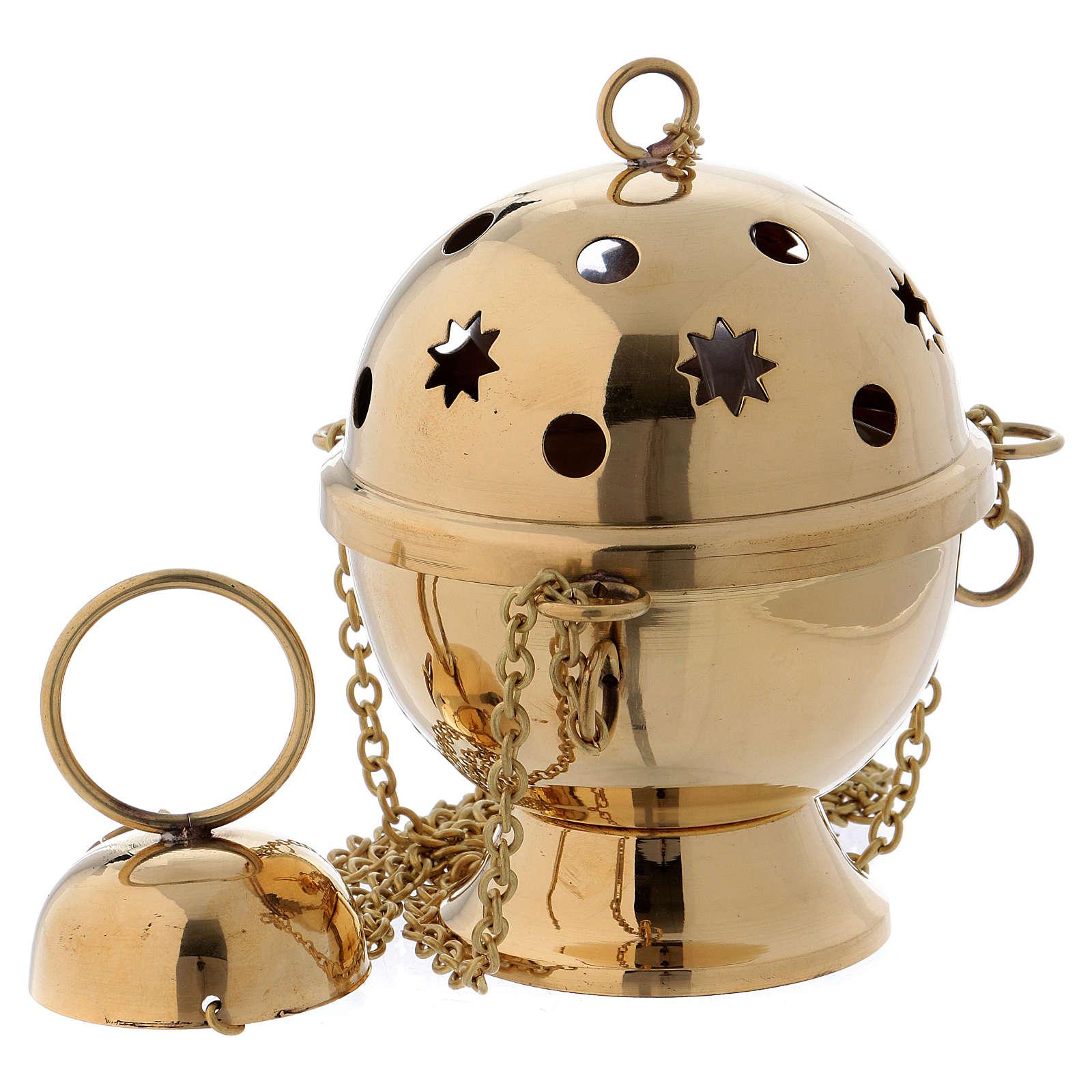 Turíbulo para incenso em latão dourado modelo esfera 3