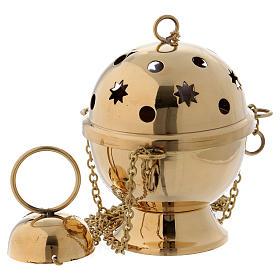 Turíbulo para incenso em latão dourado modelo esfera s1