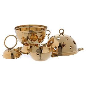Turíbulo para incenso em latão dourado modelo esfera s2