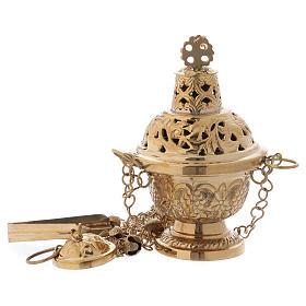 Incensario de latón dorado lúcido estilo ortodoxo h 16 cm s1