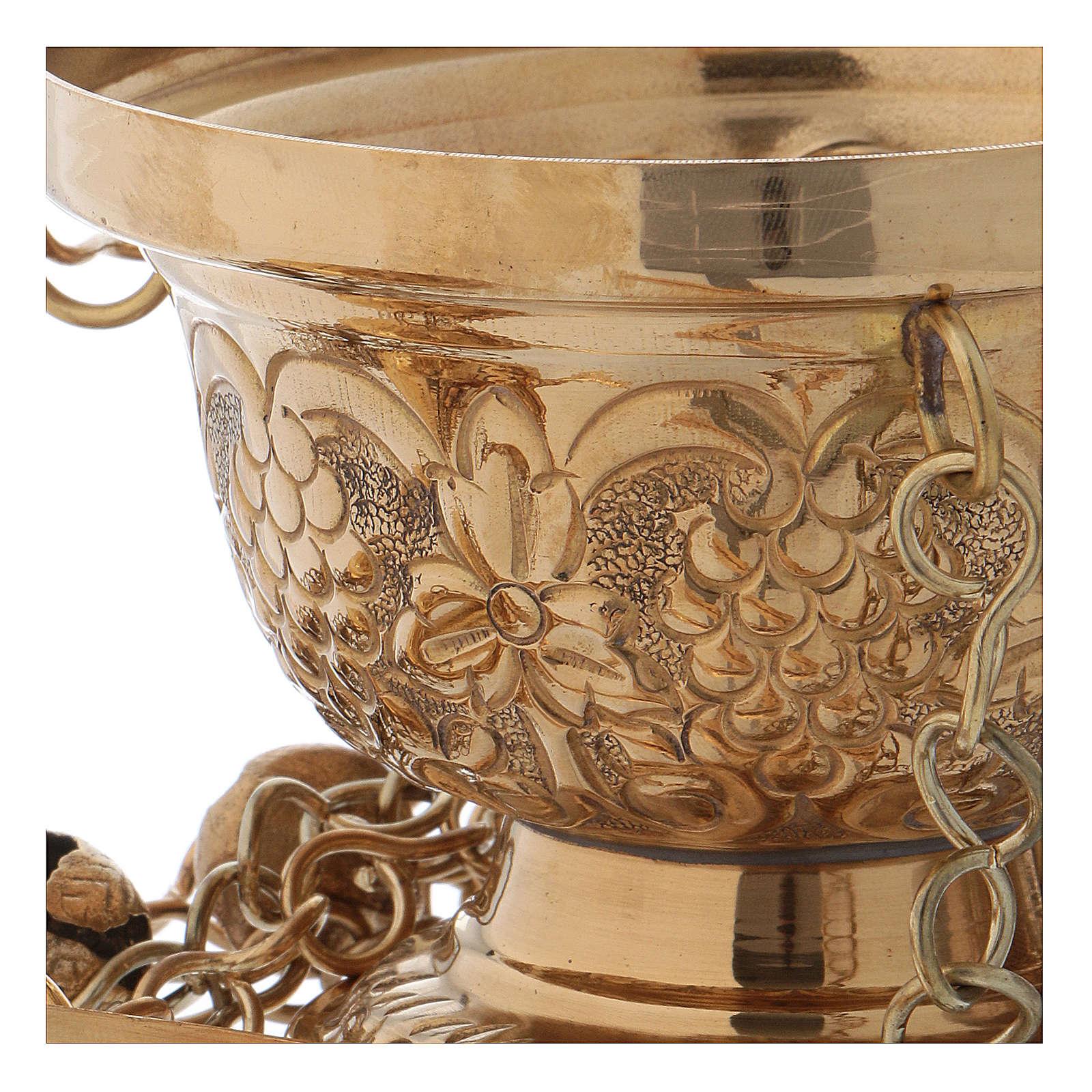Trybularz z mosiądzu pozłacany polerowany styl prawosławny h 16 cm 3