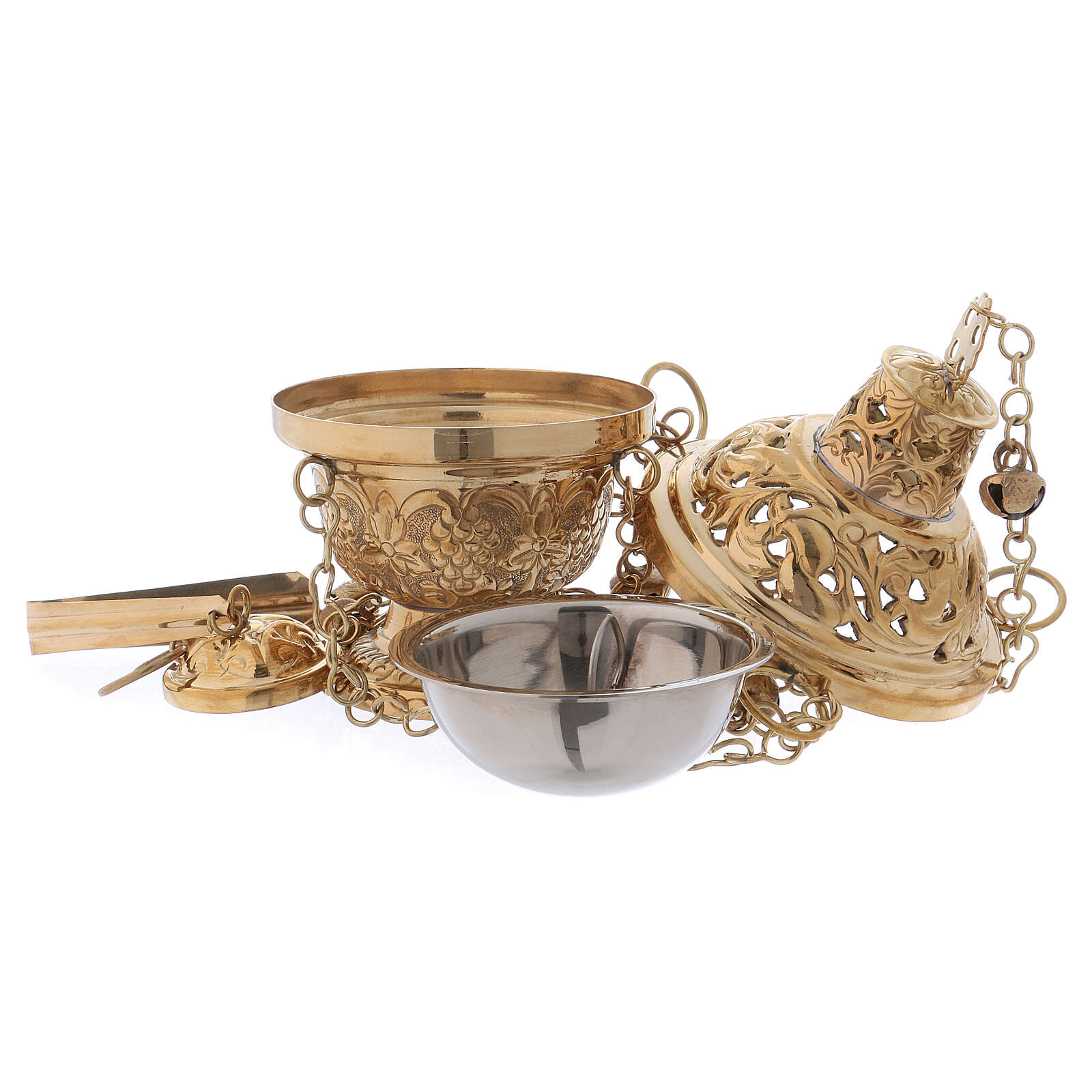 Thurible in Orthodox style in polished gold plated brass h 6 1/4 in 3