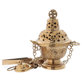 Thurible in Orthodox style in polished gold plated brass h 6 1/4 in s1