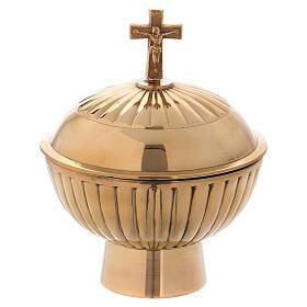 Round shaped censer made of golden brass s3