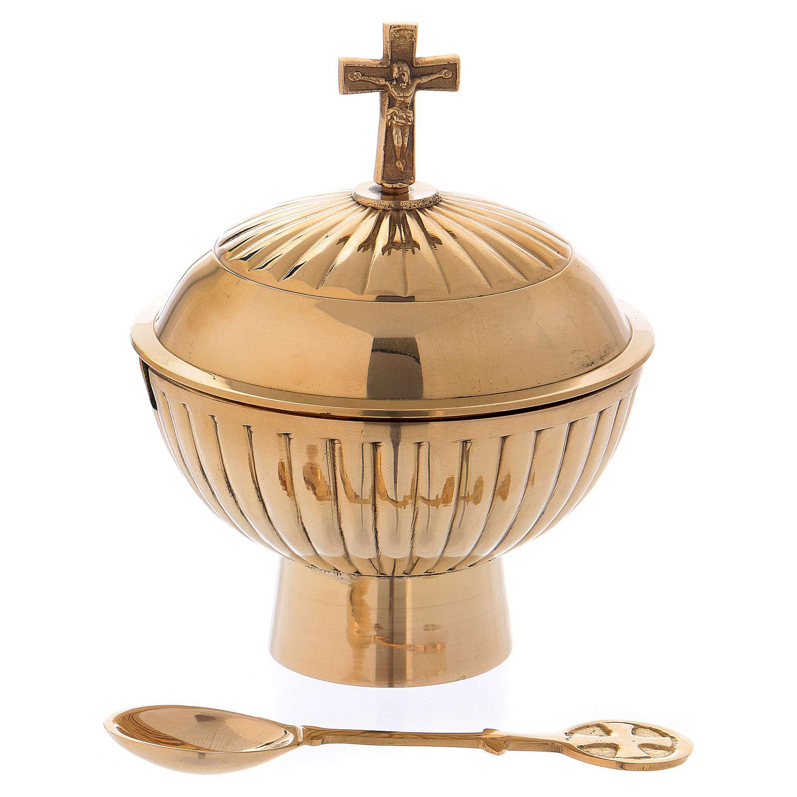 Łódka liturgiczna z mosiądzu pozłacana z krzyżem h 12 cm 3