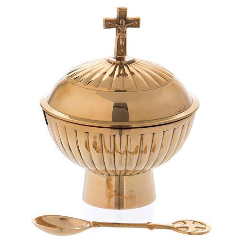 Łódka liturgiczna z mosiądzu pozłacana z krzyżem h 12 cm 1