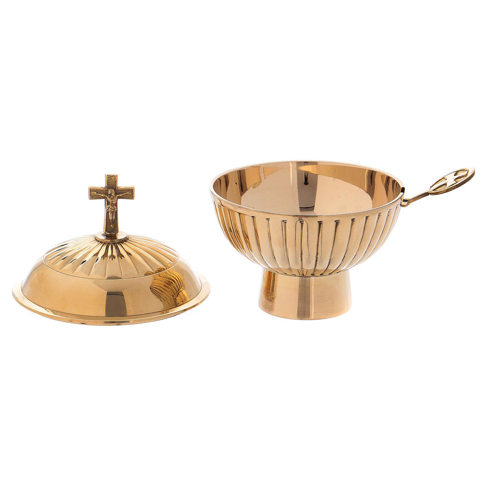 Gold plated brass boat with cross h 4 3/4 in 3