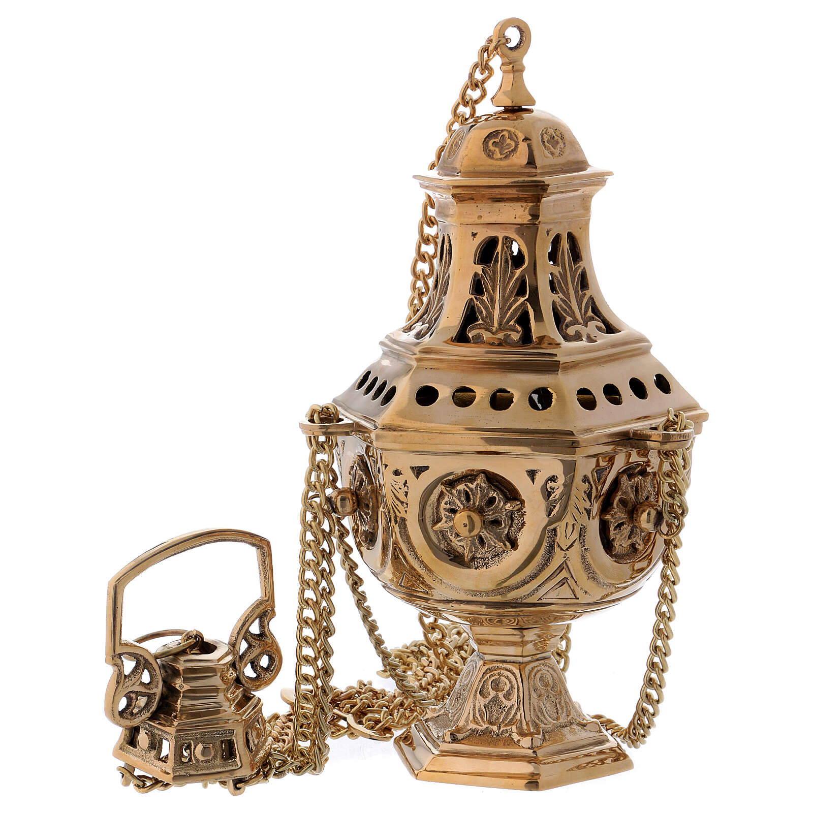 Thurible made of gold coloured brass with embossed leaf-shaped decorations 27 cm 3
