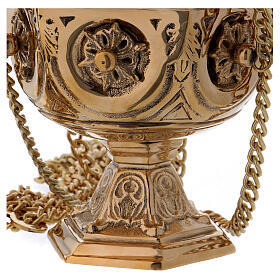 Thurible made of gold coloured brass with embossed leaf-shaped decorations 27 cm s3