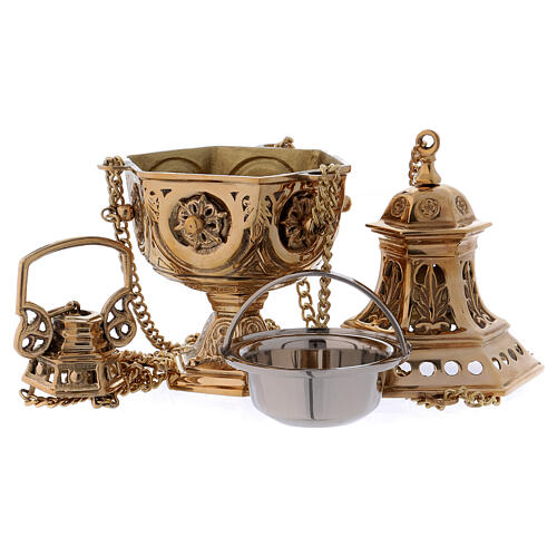 Thurible made of gold coloured brass with embossed leaf-shaped decorations 27 cm 5