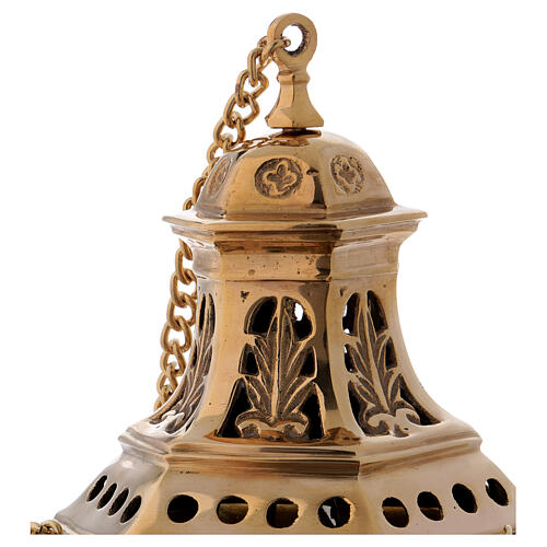 Leaf pattern thurible in gold-colored brass h 10 1/2 in 2