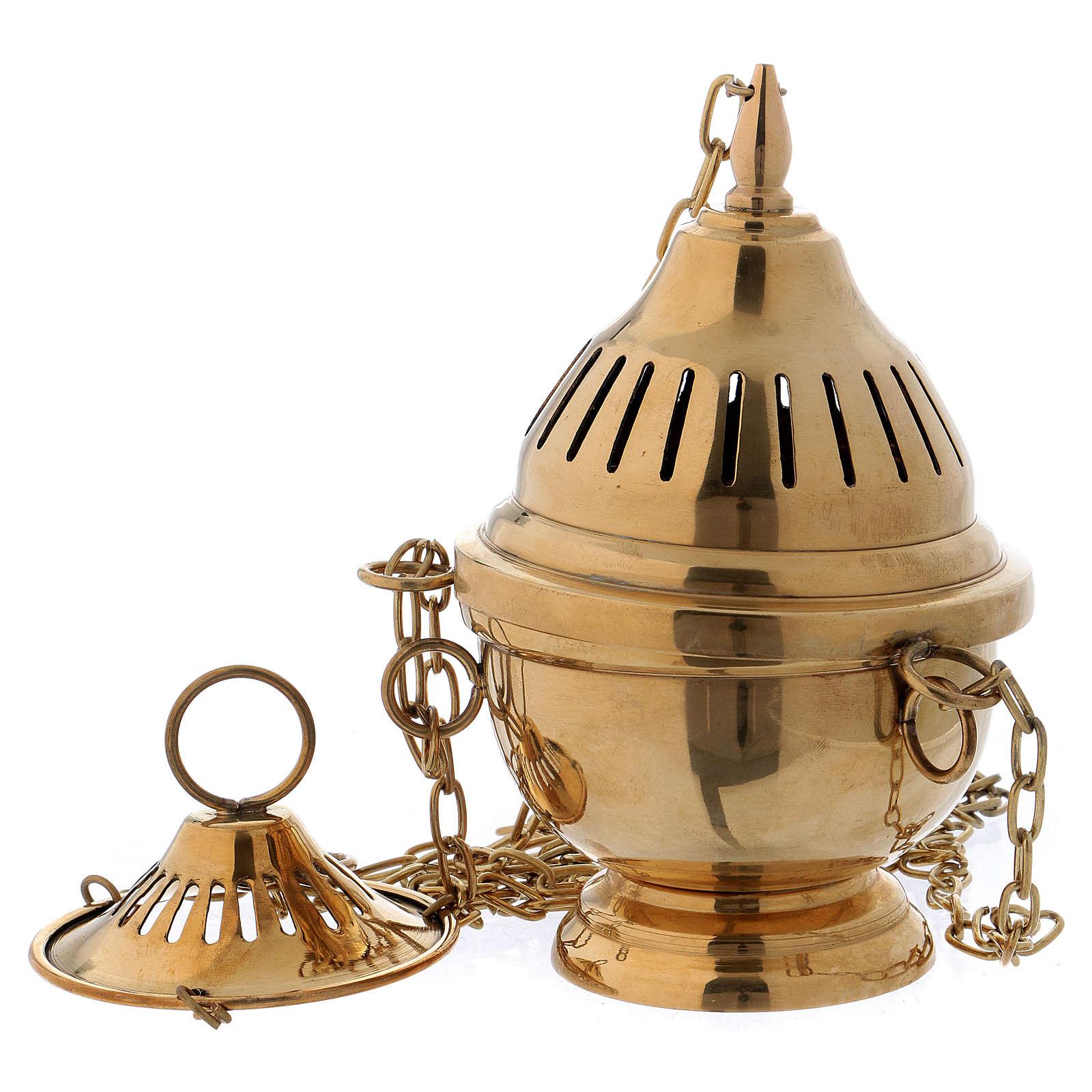 Incensario latón dorado lúcido elaboración con rayas h. 16 cm 3