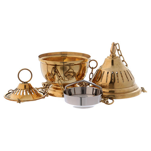 Striped thurible in polished gold plated brass h 6 1/4 in 2