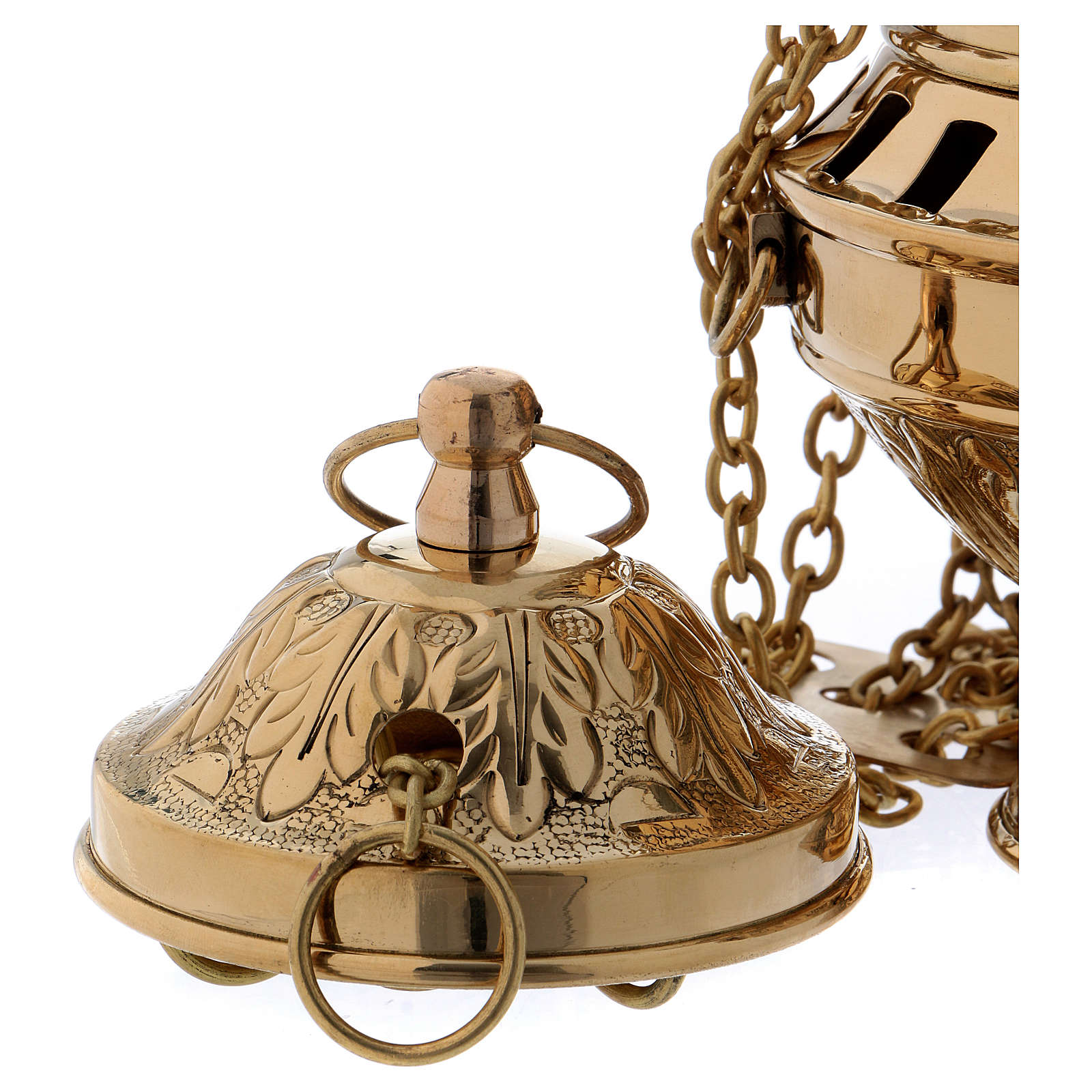 Encensoir laiton doré décoration feuille couvercle et base h 24 cm 3