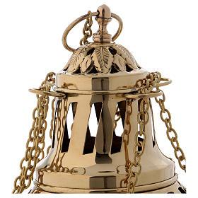 Encensoir laiton doré décoration feuille couvercle et base h 24 cm s2