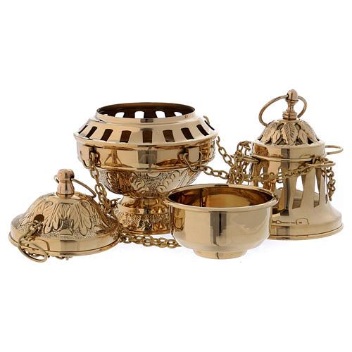 Encensoir laiton doré décoration feuille couvercle et base h 24 cm 4