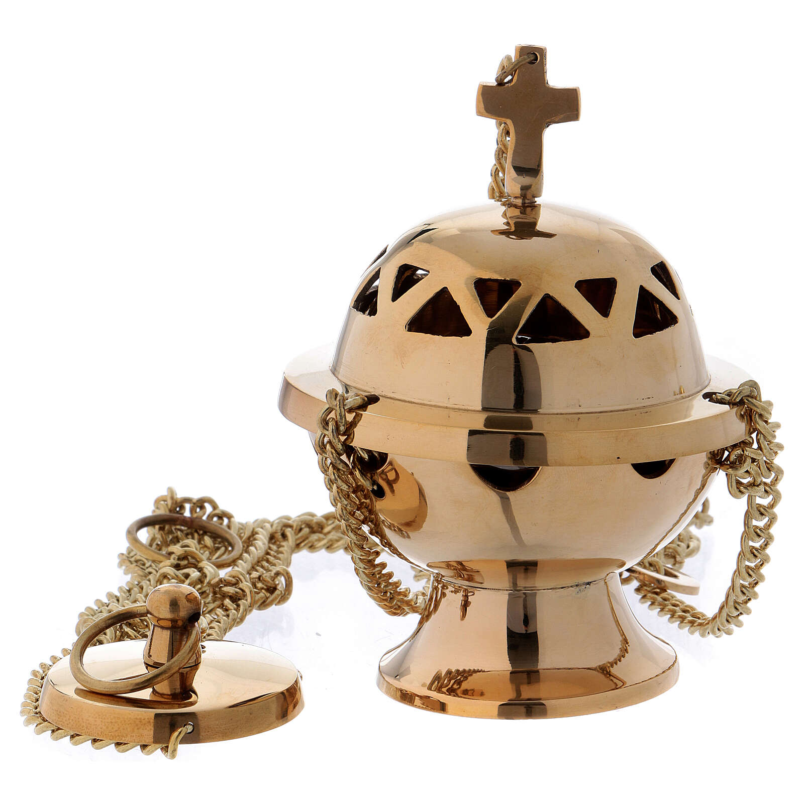 Thurible in shiny golden brass with triangular holes 11 cm 3