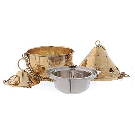 Kneaded golden brass thurible with cross-shaped holes 14 cm s2