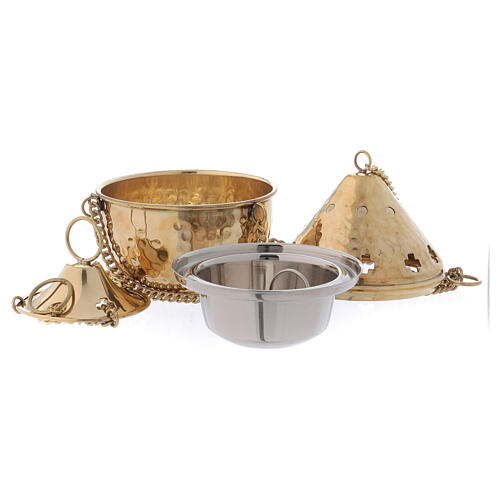Kneaded golden brass thurible with cross-shaped holes 14 cm 2