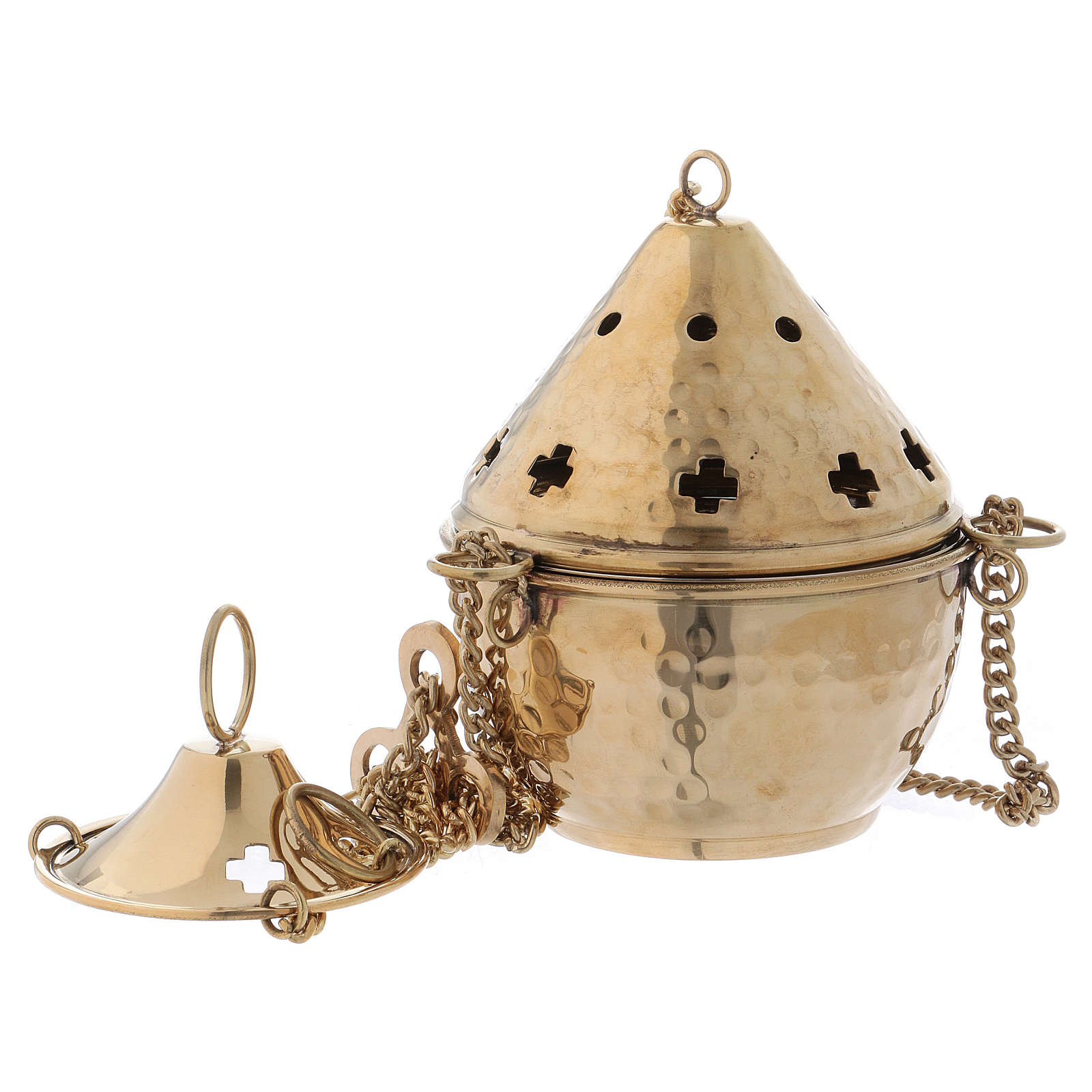 Turibolo ottone dorato martellato fori a croce h. 14 cm 3