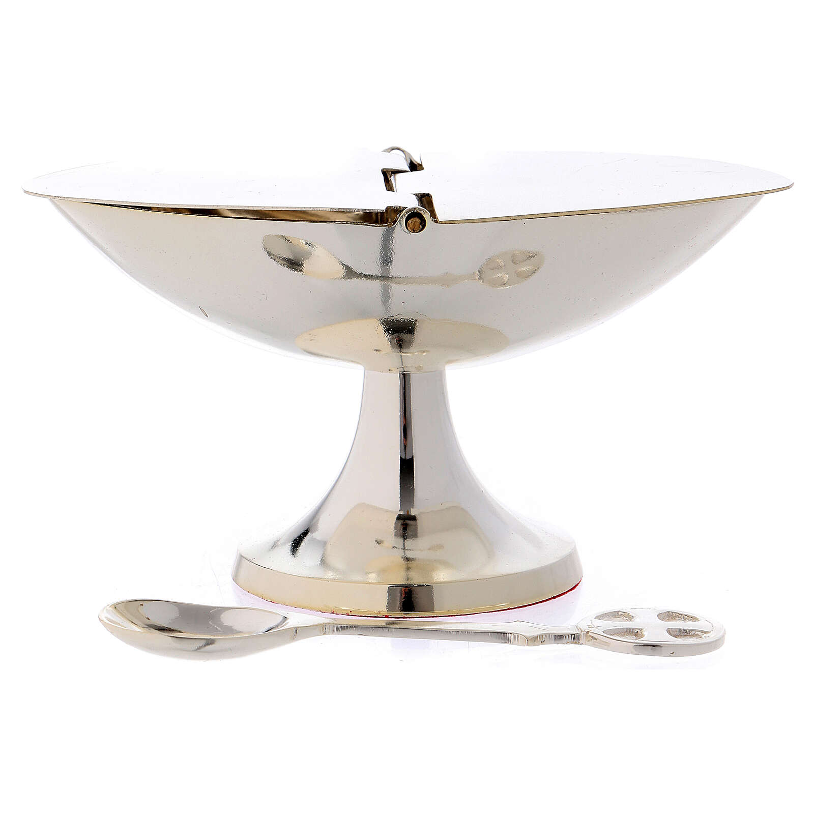 Boat with spoon in silver-plated brass 3