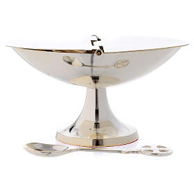 Boat with spoon in silver-plated brass s1