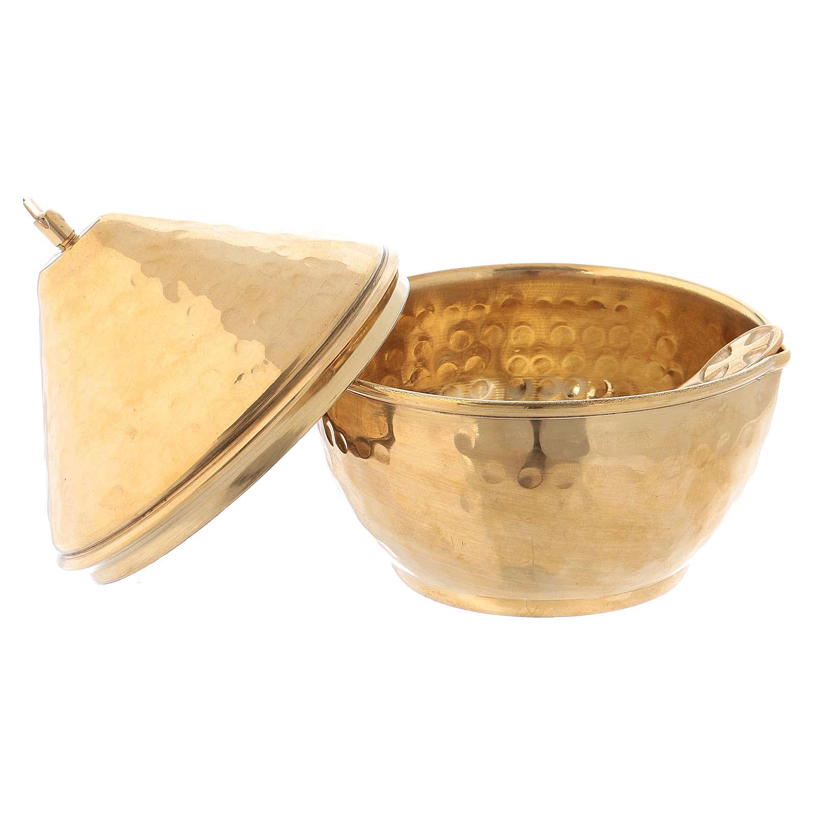 Vasetto portaincenso coperchio a cupola ottone dorato 3