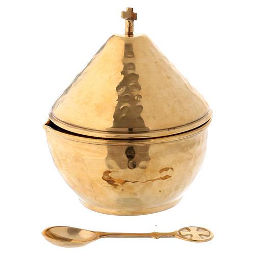 Vasetto portaincenso coperchio a cupola ottone dorato 1