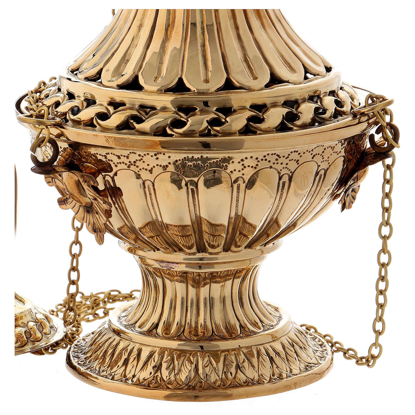 Turibolo con decori e intagli ottone dorato 30 cm 3
