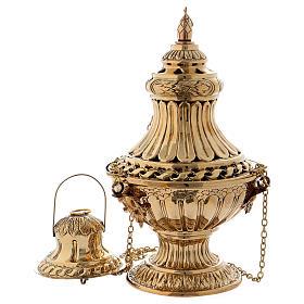 Turibolo con decori e intagli ottone dorato 30 cm s1