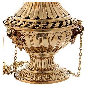 Turibolo con decori e intagli ottone dorato 30 cm s3