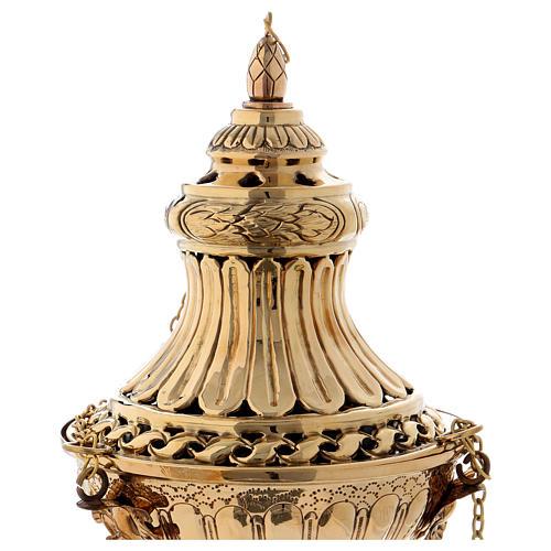 Turibolo con decori e intagli ottone dorato 30 cm 2
