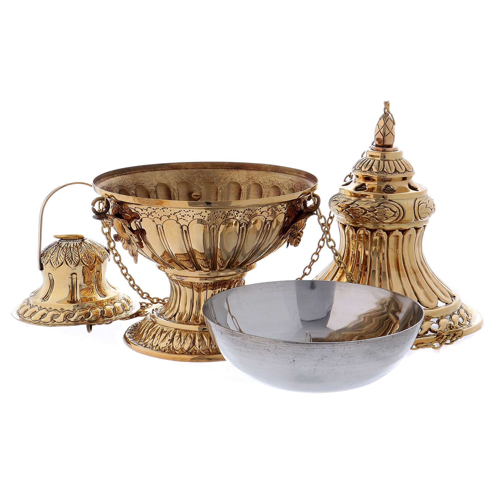 Decorated and carved thurible in gold plated brass 11 3/4 in 3