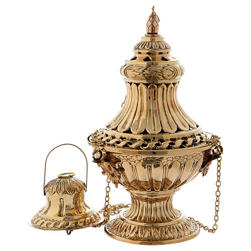 Decorated and carved thurible in gold plated brass 11 3/4 in 1