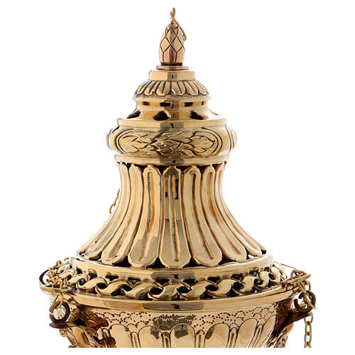 Decorated and carved thurible in gold plated brass 11 3/4 in 2