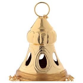 Turibolo coperchio intagliato ottone dorato 24 cm s2