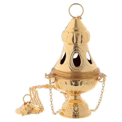 Turibolo coperchio intagliato ottone dorato 24 cm 1