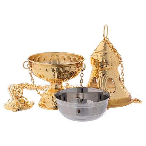 Turibolo coperchio intagliato ottone dorato 24 cm 3