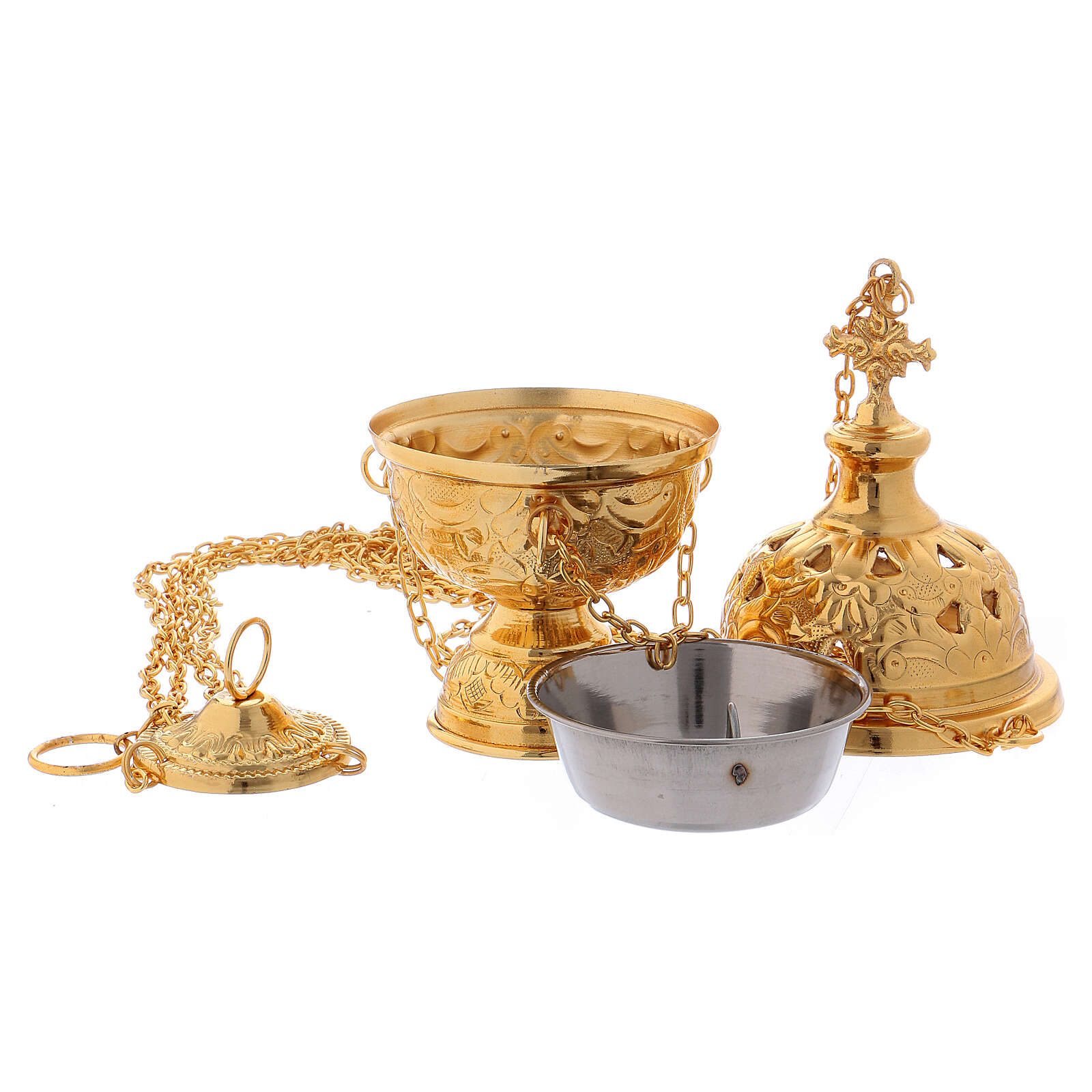 Thurible with flower decoration in gold plated brass 8 in 3