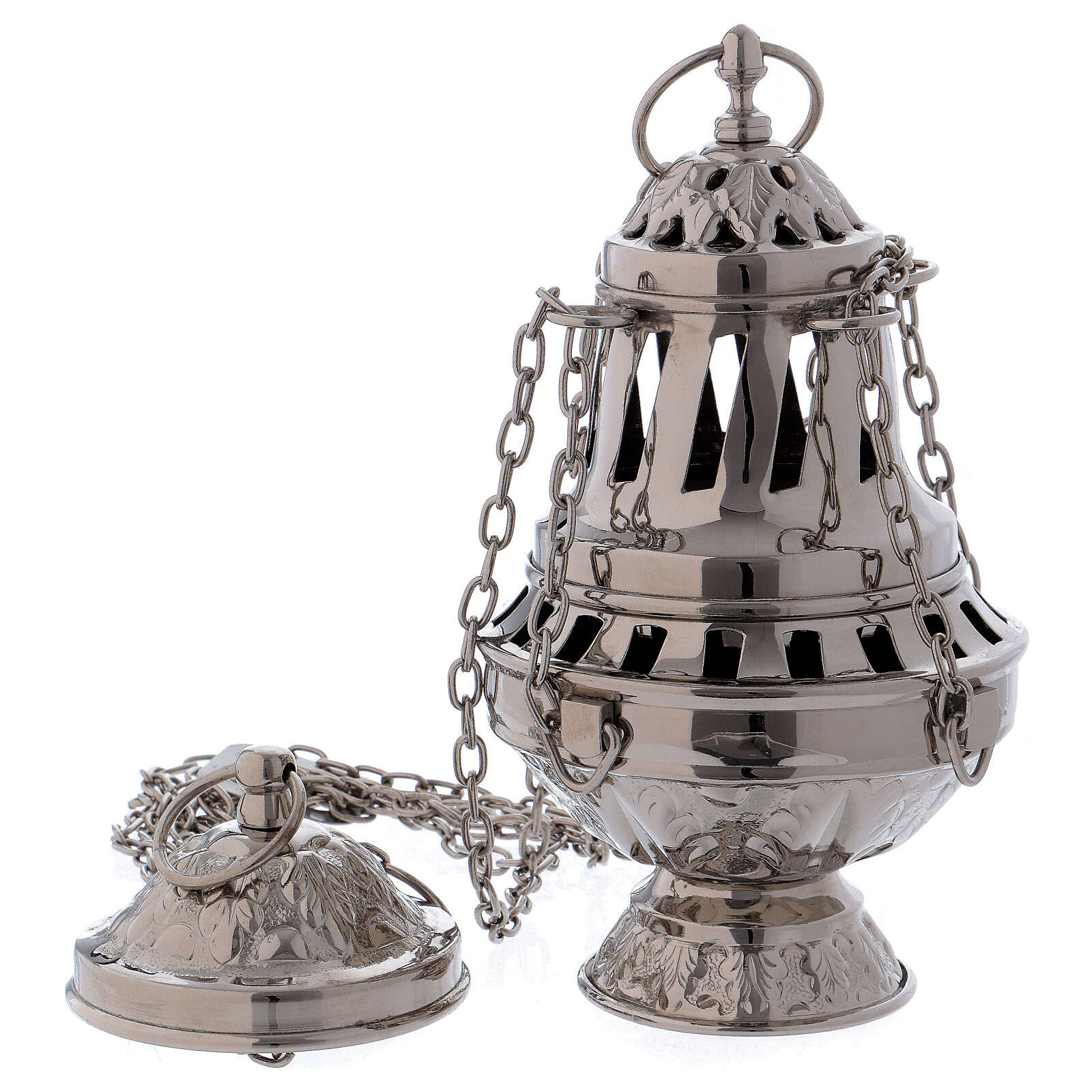 Thurible with carvings and leaf pattern silver-plated brass 3
